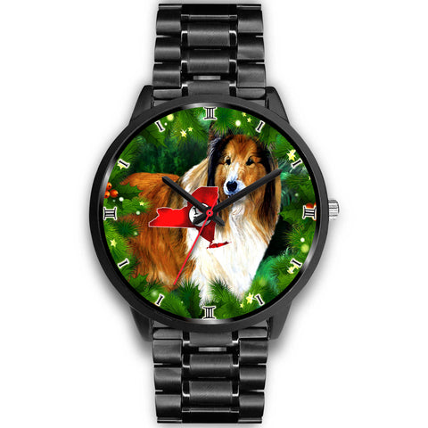 Amazing Rough Collie Dog Art New York Christmas Special Wrist Watch
