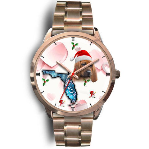 Redbone Coonhound On Christmas Florida Golden Wrist Watch