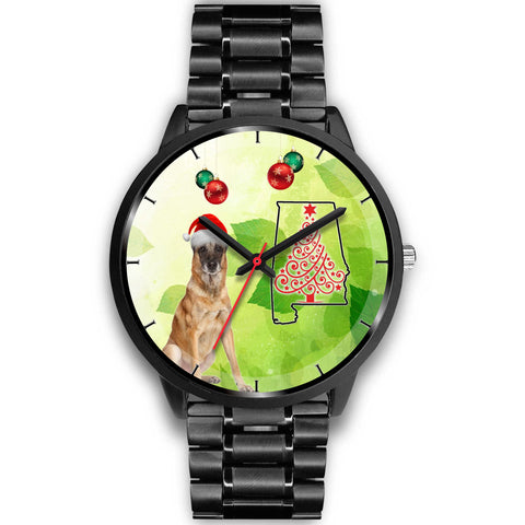 Belgian Malinois Dog On Christmas Alabama Wrist Watch