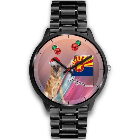 Belgian Malinois Dog On Christmas Arizona Wrist Watch