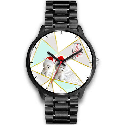 Bichon Frise Dog On Christmas Alabama Wrist Watch