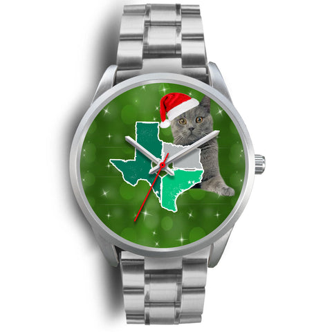 Chartreux Cat Texas Christmas Special Wrist Watch