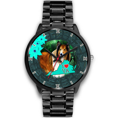 Rough Collie Dog Art Virginia Christmas Special Wrist Watch