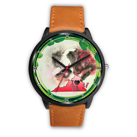 St. Bernard Dog Art Virginia Christmas Special Wrist Watch