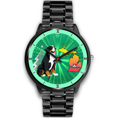 Bernese Mountain Dog Michigan Christmas Special Wrist Watch