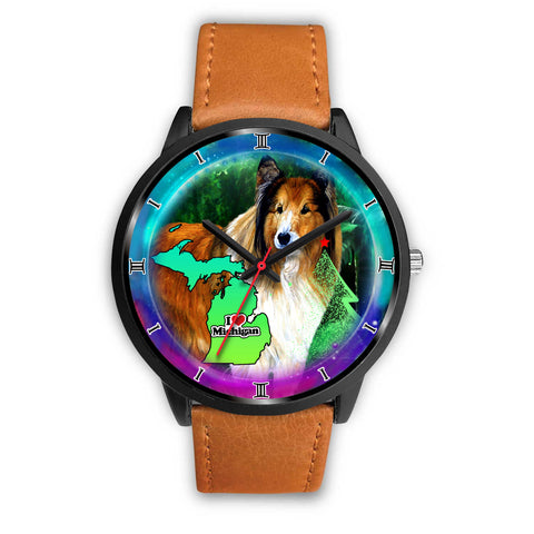 Rough Collie Dog Art Michigan Christmas Special Wrist Watch
