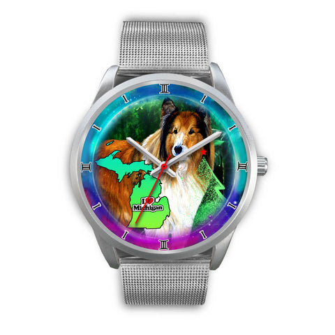 Amazing Rough Collie Dog Art Michigan Christmas Special Wrist Watch