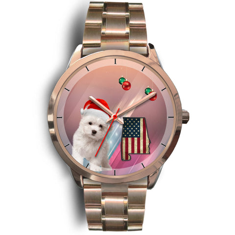 Cute Maltese Dog Alabama Christmas Special Wrist Watch