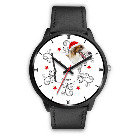 Borzoi Dog Georgia Christmas Special Wrist Watch