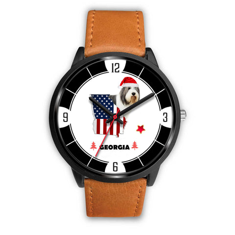 Bearded Collie Georgia Christmas Special Wrist Watch