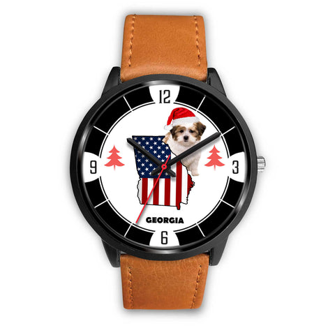 Shih Poo Dog Georgia Christmas Special Wrist Watch