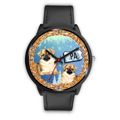 Cute Pekingese Dog Pennsylvania Christmas Special Wrist Watch