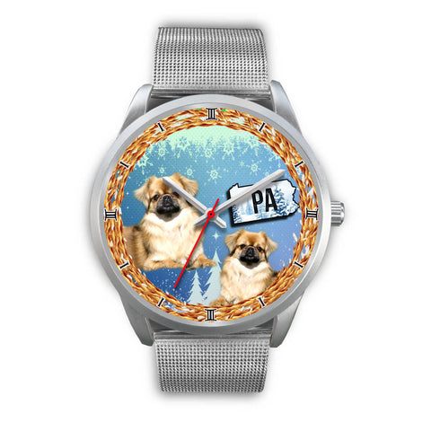 Graceful Pekingese Dog Pennsylvania Christmas Special Wrist Watch