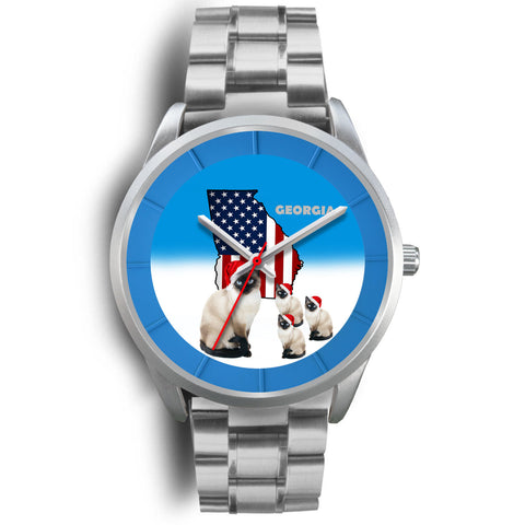Siamese Cat Georgia Christmas Special Wrist Watch