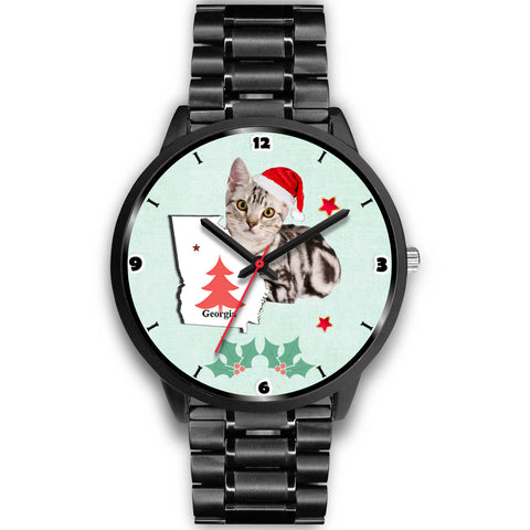 American Shorthair Cat Georgia Christmas Special Wrist Watch