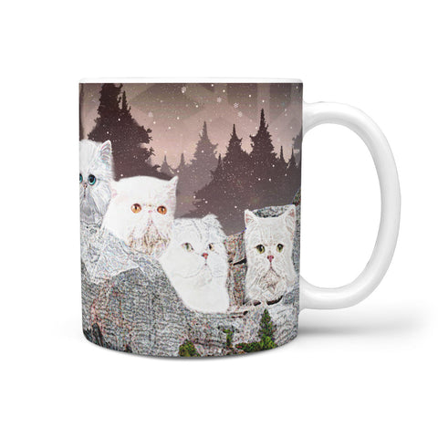 White Persian Cat Art Mount Rushmore Print 360 Mug