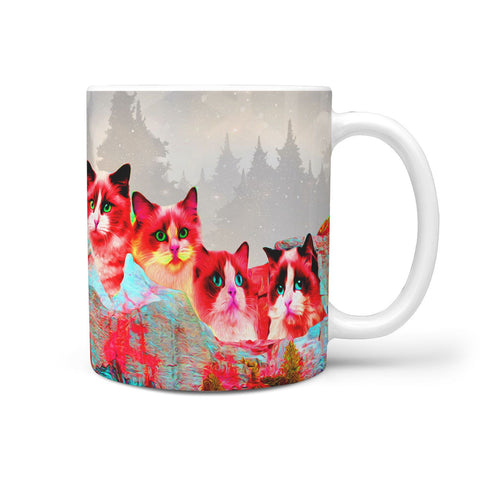 Ragdoll Cat On Mount Rushmore Print 360 Mug