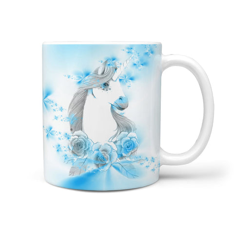 Unicorn blue Floral Print 360 White Mug