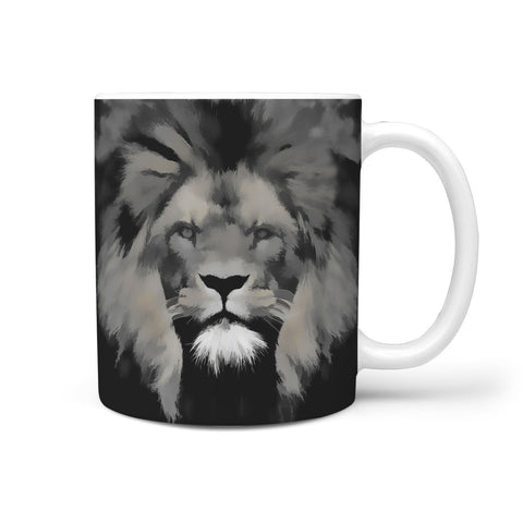 Lion Grey Art Print 360 Mug