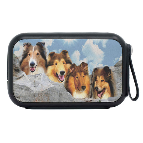 Rough Collie Dog On Mount Rushmore Print Bluetooth Speaker