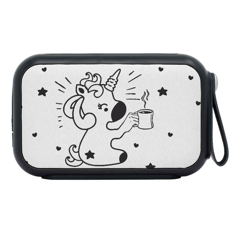 Cute Unicorn With Coffee Print Bluetooth Speaker
