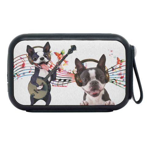 Boston Terrier Listening to Music Print Bluetooth Speaker