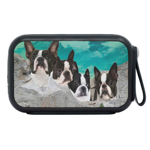 Boston Terrier Dog On Mount Rushmore Print Bluetooth Speaker