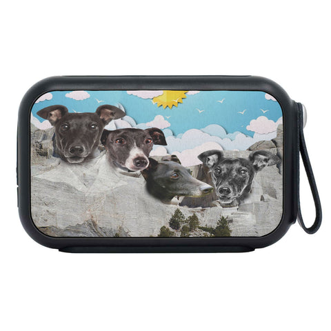 Italian Greyhound Dog On Mount Rushmore Print Bluetooth Speaker