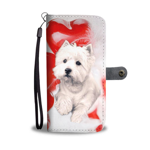 West Highland White Terrier On Red Print Wallet Case