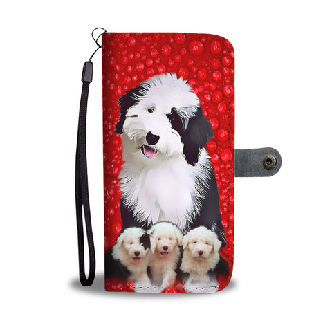 Old English Sheepdog On Red Wallet Case
