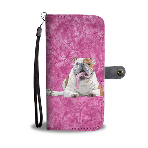 Bulldog On Pink Print Wallet Case
