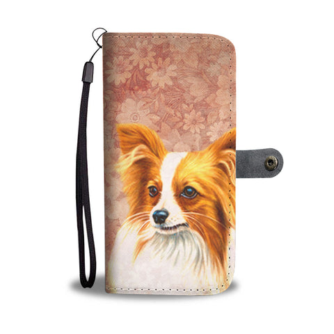 Cute Papillon Dog Print Wallet Case