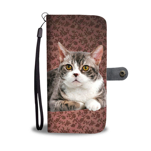 Lovely American Wirehair Cat Print Wallet Case