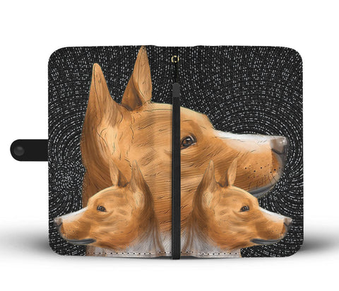 Cute Three Basenji Dog Print Wallet Case