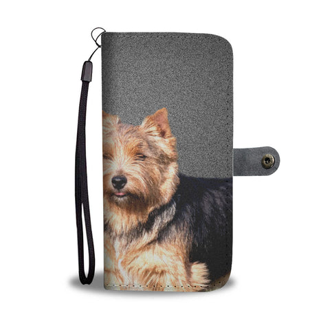 Lovely Norwich Terrier Dog On Grey Print Wallet Case