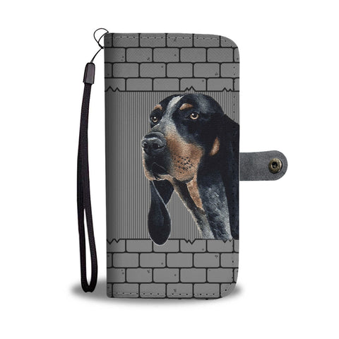 Cute Bluetick Coonhound Dog Printed on wall Wallet Case