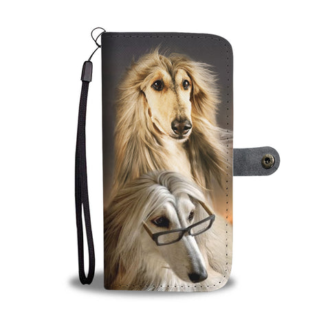 Cute Afghan Hound Dog Print Wallet Case