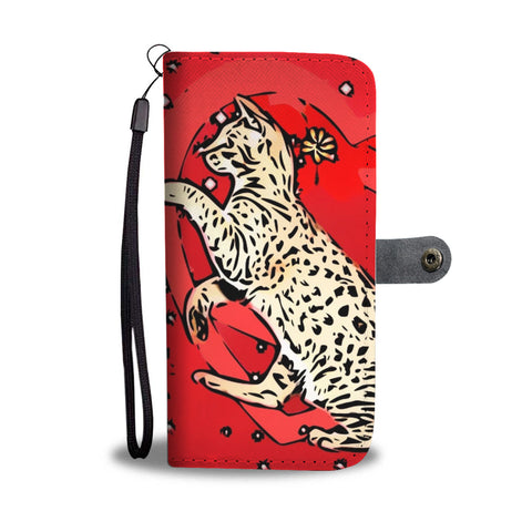 Ocicat in heart Print On Red Wallet Case