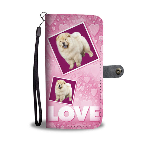 Chow Chow Dog with Love Print Wallet Case