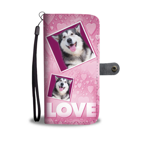 Siberian Husky Dog with Love Print Wallet Case