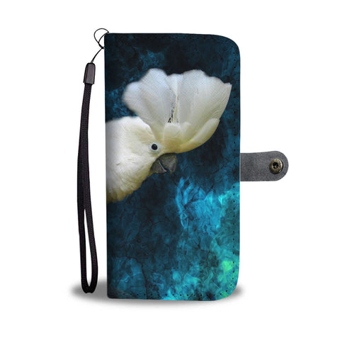 Lovely Umbrella Cockatoo Bird Print Wallet Case