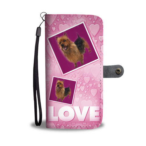 Australian Terrier Dog with Love Print Wallet Case