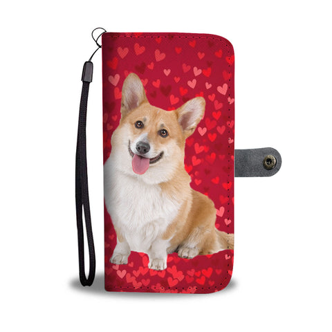 Cardigan Welsh Corgi Dog On Hearts Print Wallet Case