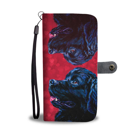 Newfoundland Dog On Red Print Wallet Case