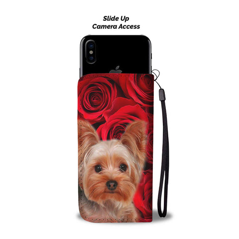Yorkshire Terrier On Red Print Wallet Case