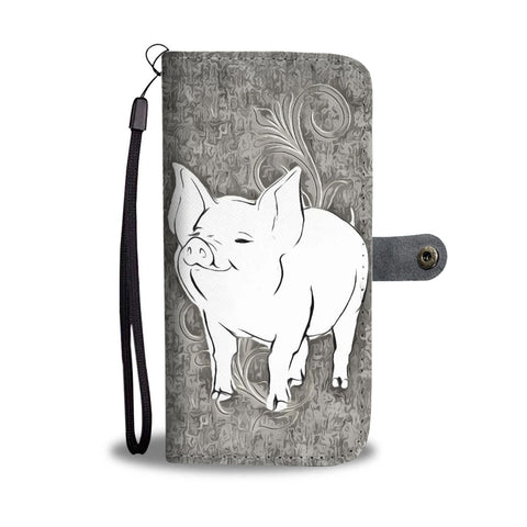 Cute Middle White Pig Print Wallet Case