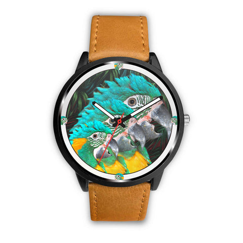 Blue Threaded Macaw Parrot Print Wrist Watch