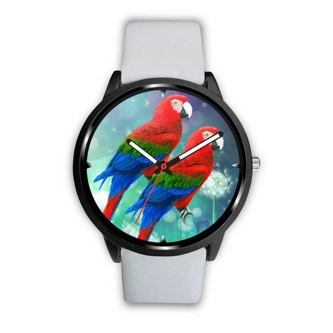 Red And Green Macaw Parrot Print Wrist Watch