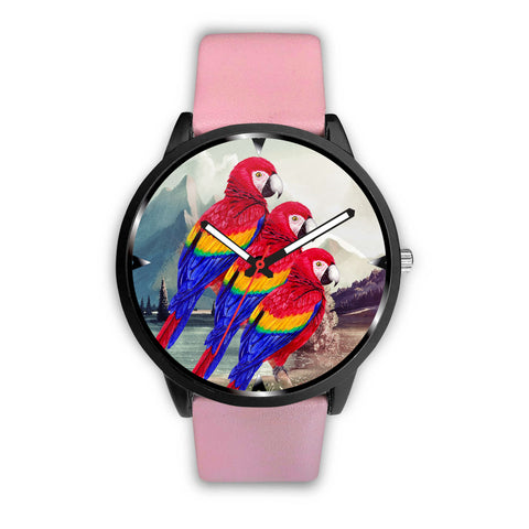 Lovely Scarlet Macaw Parrot Print Wrist Watch