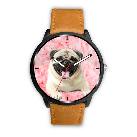 Cute Pug Dog On Pink Print Wrist Watch